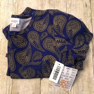 LuLaRoe Carly - Size XS - Blue & Yellow Paisley